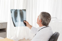 A senior doctor looking at the X-ray Stock Images