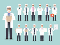 Senior doctor, medical and hospital staff characters. Group of senior male doctors, elderly medical staffs. Flat design people characters Stock Photography