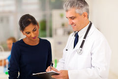 Senior doctor patient stock image