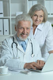 Senior Doctors   with laptop Royalty Free Stock Photos