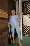 Senior at Door royalty free stock photo