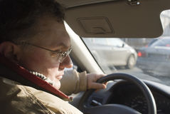 Senior driver. The photography of caucasian white man during driving by car. Photo taken on January 2011 stock images
