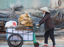 Senior dustwoman, Vietnam Stock Photos