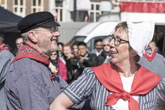 Senior Dutch Traditional Dancers Stock Photography