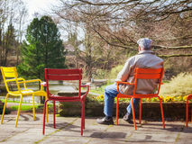 Senior in early spring park Royalty Free Stock Images