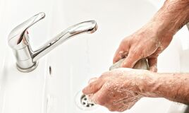 Free Senior Elderly Man His Hands With Soap Under Tap Water Faucet, Detail Photo. Can Be Used As Hygiene Illustration Concept During Stock Images - 179624514