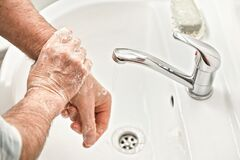 Free Senior Elderly Man His Hands With Soap Under Tap Water Faucet, Detail Photo. Hygiene Illustration Concept During Ncov Coronavirus Royalty Free Stock Photos - 178788318