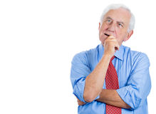 senior elderly mature man trying to remember something in deep thought Stock Images