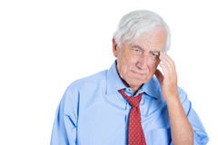 Senior elderly mature man with white hair really sad and in deep thought Stock Photos