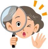 Senior elderly woman surprised at peering into magnifying glasses royalty free illustration