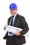 Senior engineer holding some papers Stock Images