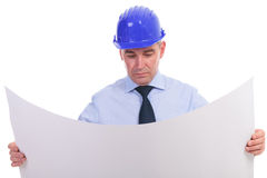 Senior engineer holding a spread project Stock Photos
