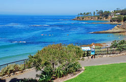 Senior enjoying view in Heisler Park, Laguna Beach, CA Royalty Free Stock Photography