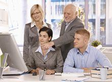 Senior executive working with businessteam stock images