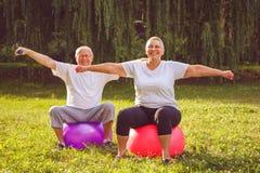 Senior exercise - pensioner couple doing fitness exercises on fitness ball in park stock image