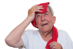 Senior is exhausted Royalty Free Stock Image