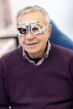 Senior in eye clinic check his sight Royalty Free Stock Photo