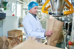 Senior Factory Worker Working at Packaging Line. Side view portrait of senior factory worker filling paper bags in packaging section of modern food factory, copy royalty free stock photography