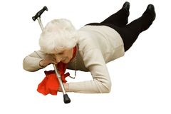 Senior falling isolated Stock Images
