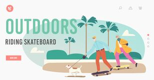 Free Senior Family Characters Skateboard Activity Landing Page Template. Aged Man, Woman And Dog Active Lifestyle, Vacation Royalty Free Stock Image - 216500706