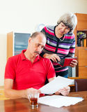 Senior family  with financial documents Stock Photo
