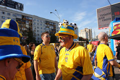 Senior fan from Sweden on UEFA EURO-2012 Stock Photography