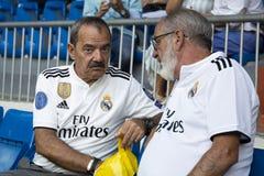 Senior Fans of Real Madrid on Santiago Bernabéu stadium in Madrid, Spain 2018-08-12 royalty free stock photography