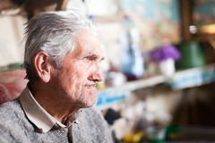 Senior farmer indoor. Indoor closeup portrait of an expressive senior farmer with selective focus Royalty Free Stock Image