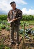 Senior farmer standing with money Stock Photography