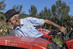 Senior farmer using an old tractor to plow his land Stock Photography
