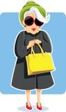 Senior Fashion Lady Holding Purse Vector Illustration royalty free illustration