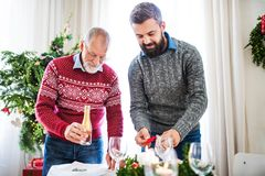 A senior father and adult son setting a table for dinner at Christmas time. A senior father and adult son setting a table for dinner at Christmas time, talking royalty free stock image