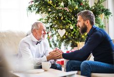 A senior father and adult son sitting on a sofa at Christmas time, looking at each other. A senior father and adult son sitting on a sofa at Christmas time stock photography