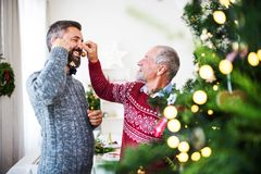 A senior father and adult son standing by a christmas tree, having fun. A happy senior father and adult son standing by a christmas tree, having fun stock image