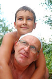 Senior father with son. Senior father with his youngest son outdoor Royalty Free Stock Photography