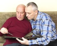 Senior father son people sharing memories Stock Photo