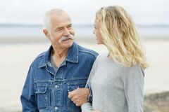 Free Senior Father With Adult Daughter At Sea Stock Image - 173516561