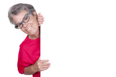 Senior female with a blank billboard Stock Photo