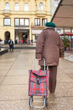 Senior female citizen pulling the grocery tartan plaid folding cart Stock Images