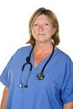 Senior Female Doctor on White Background Royalty Free Stock Photos