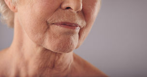 Senior female face with wrinkled skin. Macro of a senior female face with wrinkled skin against grey background. Cropped old woman face Stock Images