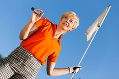 Senior female Golf player Stock Photo