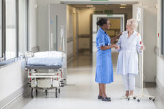 Senior Female Patient and Nurse in Hospital Royalty Free Stock Photos