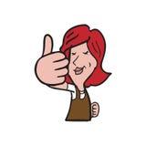 Senior female thumb up cartoon Royalty Free Stock Image