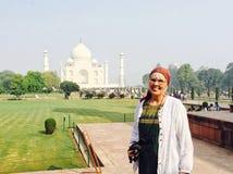 Senior female tourist travels alone stock photography