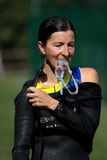 Senior female triathlete. Royalty Free Stock Photos