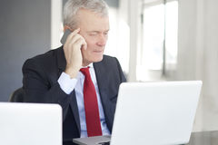 Senior financial analyst. Shot of an elderly financial director talking with somebody on his mobile phone and working on laptop in the office stock photography
