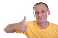 Senior with finger OK Stock Image