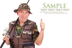 Senior fisherman stock photography