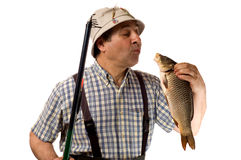 Senior fisherman with fishing rod and his catch. (isolated on white stock image